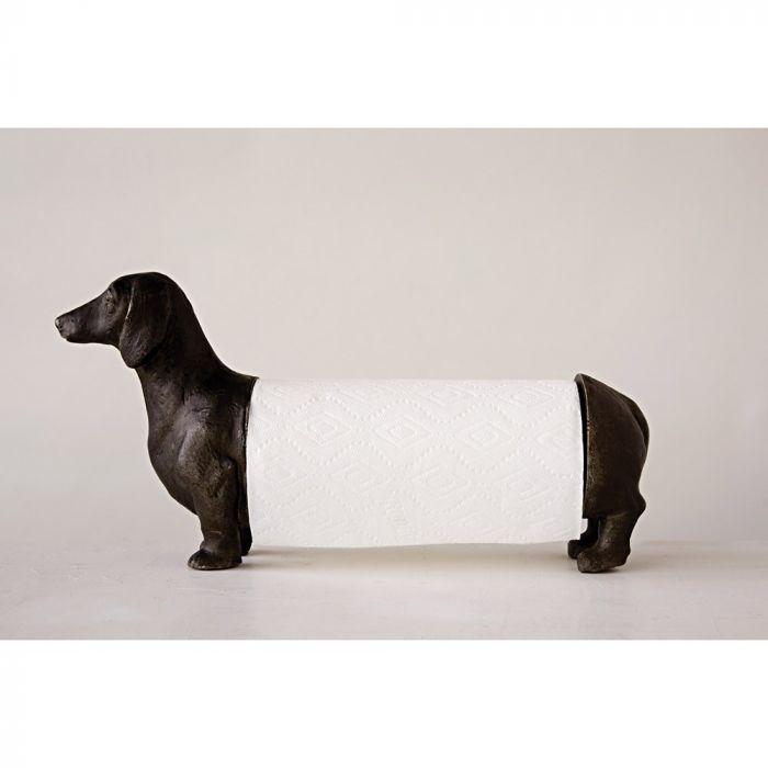 Antiqued Bronze Dachshund Dog Paper Towel Holder