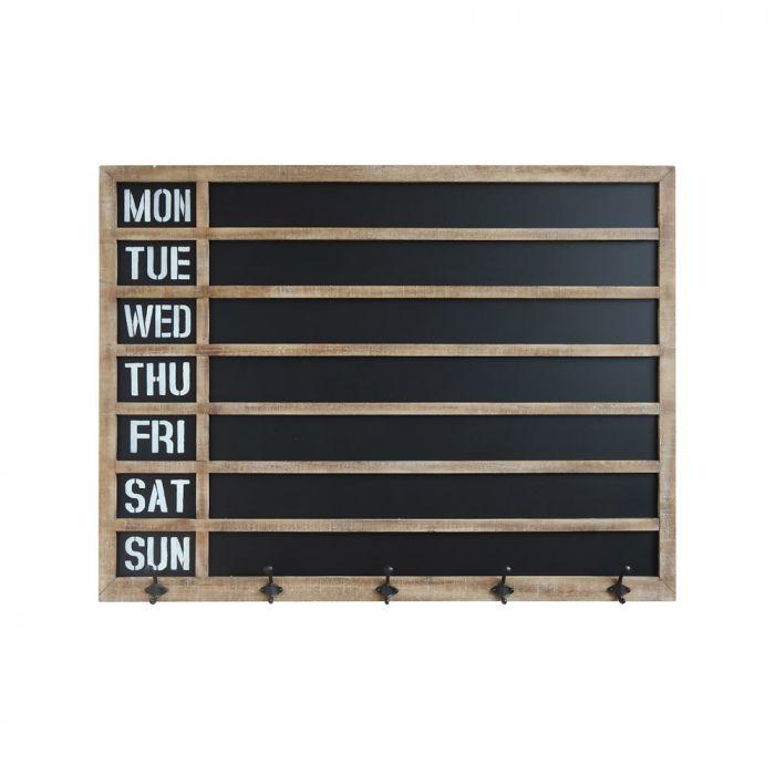 Wood Framed Chalkboard Wall Decor with Metal Hooks