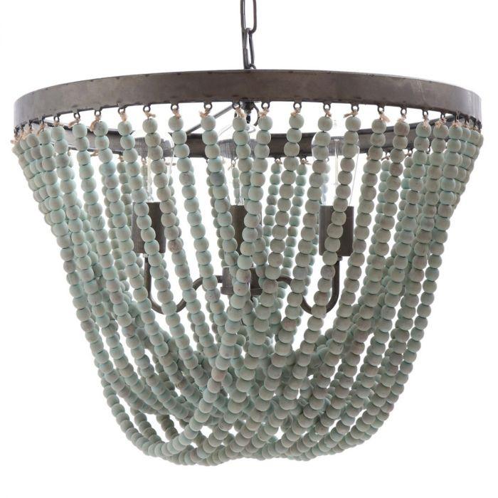 Aqua tides wooden bead chandelier