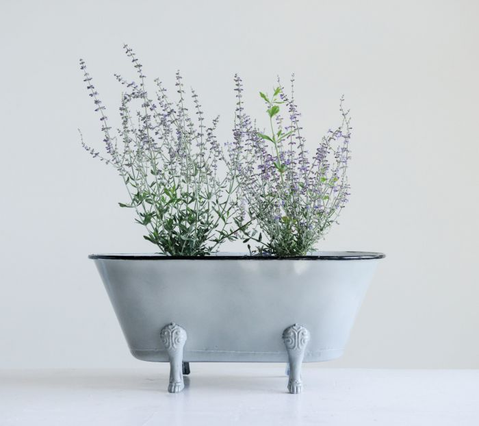 decorative grey metal bathtub