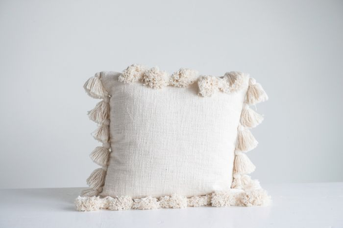 cream tassel pillow