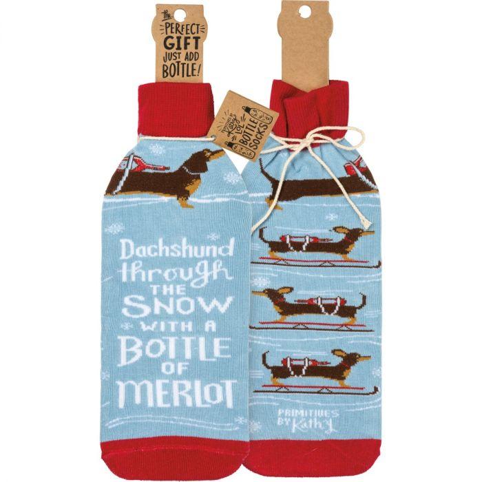 dachshund thrgh snow btl sock