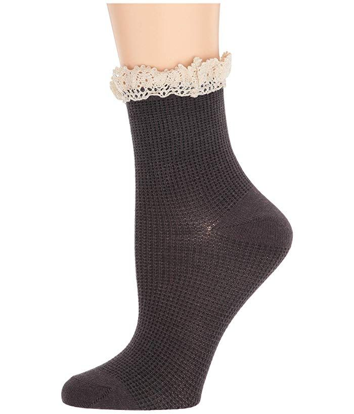 free people darling ankle sock - black