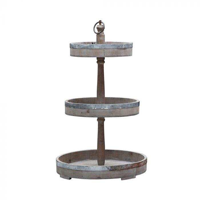 Decorative Wood & Tin 3 Tier Tray