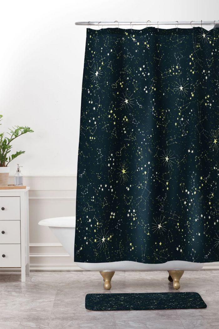 constellation shower curtain & mat