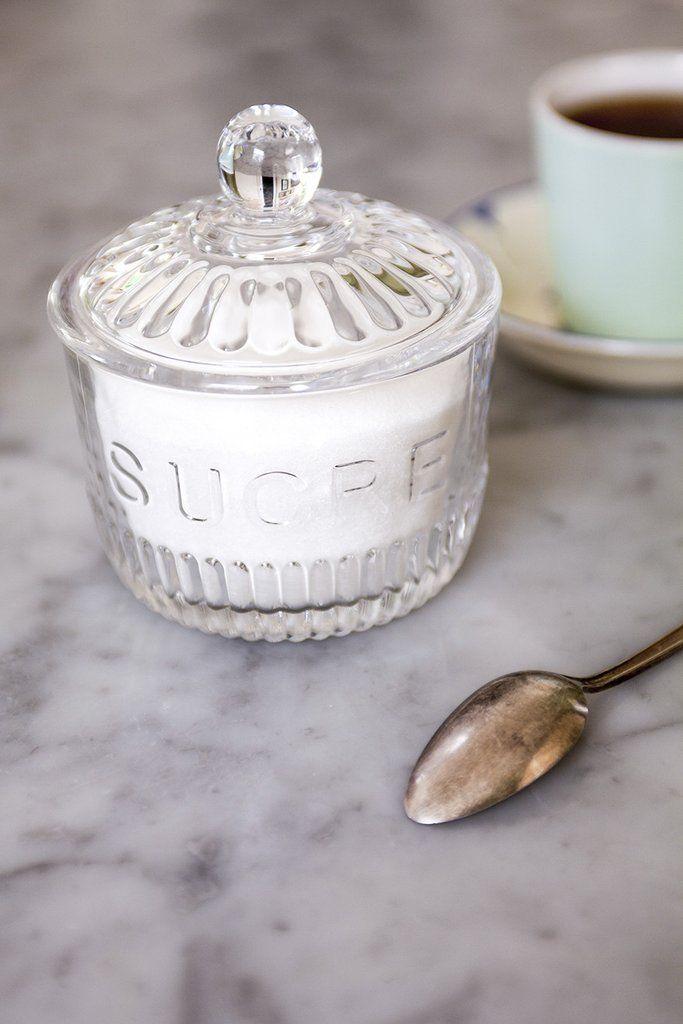 """Sucre"" glass sugar jar"