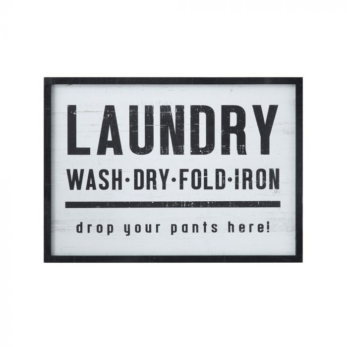"""""""Laundry, drop your pants here!"""" Wood Framed Wall Décor"""