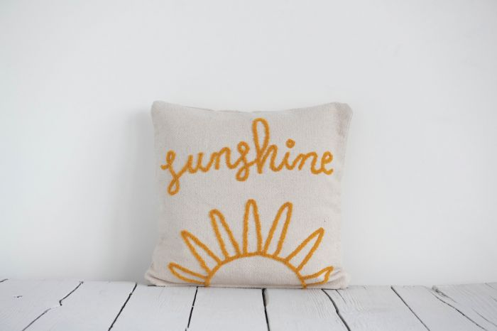 """Sunshine"" Embroidered Square Cotton Pillow"