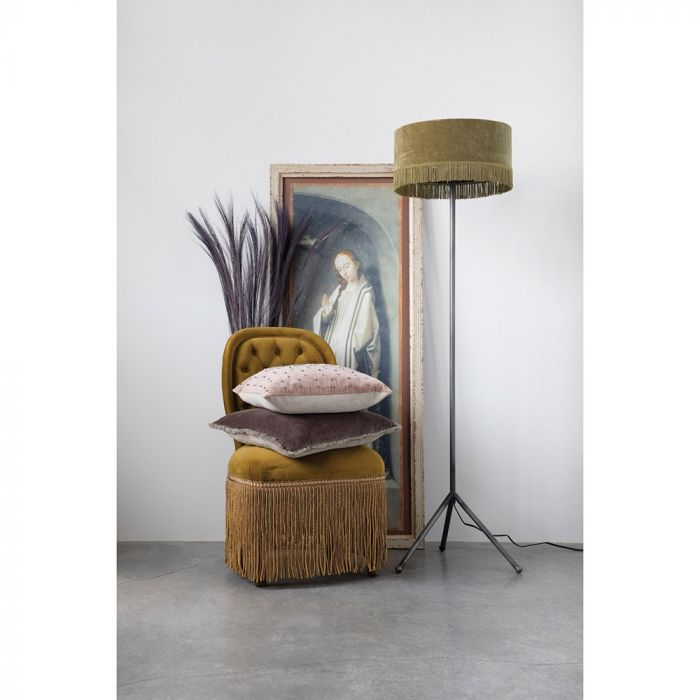 Metal Floor Lamp with Velvet Shade with Fringe