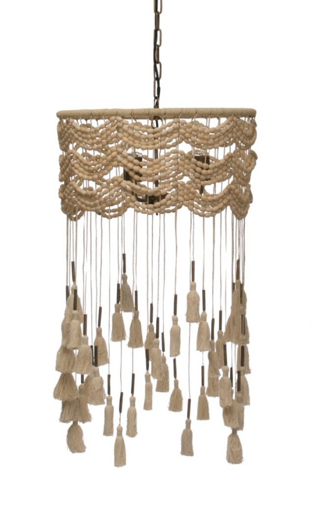 Macrame pendant chandelier with tassels