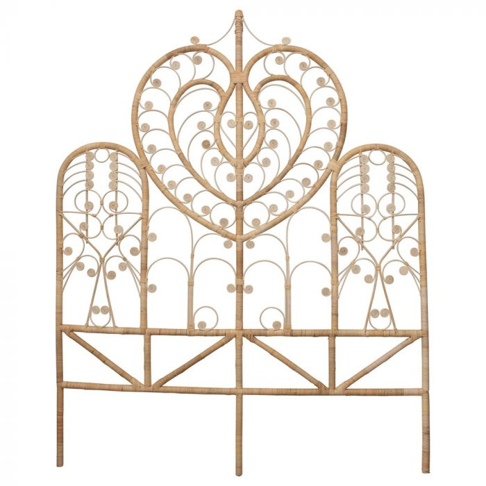 rattan heart headboard - QUEEN ** STORE PICKUP ONLY **