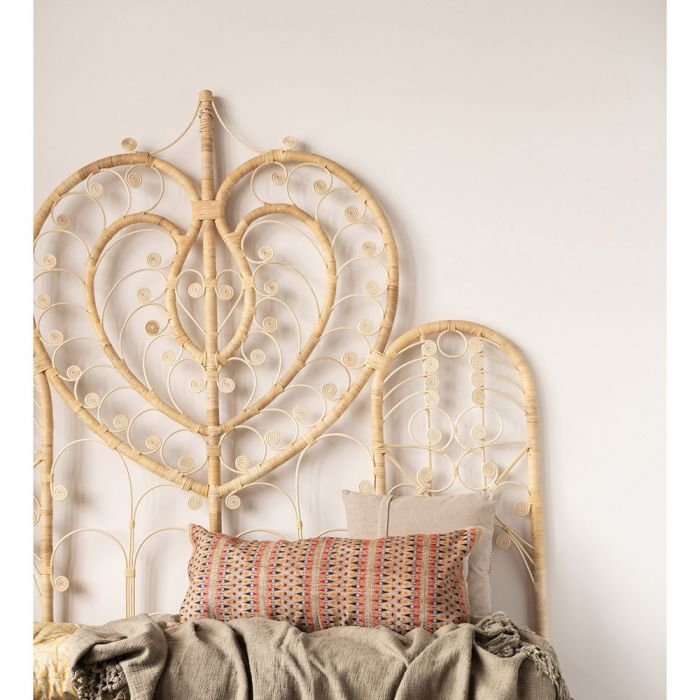 rattan heart headboard - king ** STORE PICKUP ONLY **