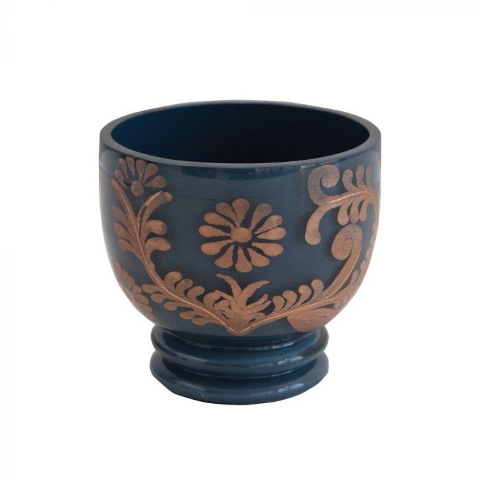 blue & copper votive holder