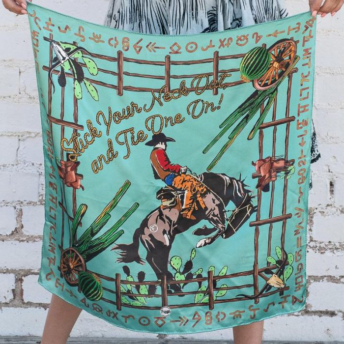 "Fringe brand ""Stick your neck out and tie one on"" shorty wild rag"
