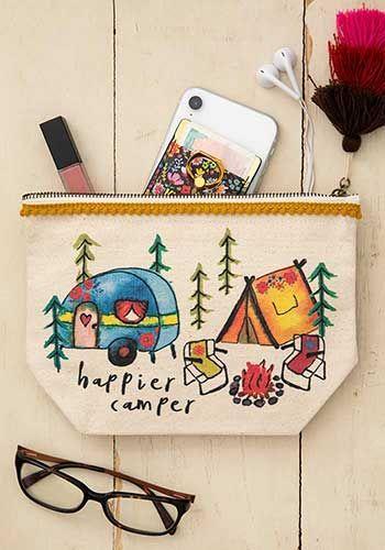 happier camper canvas pouch