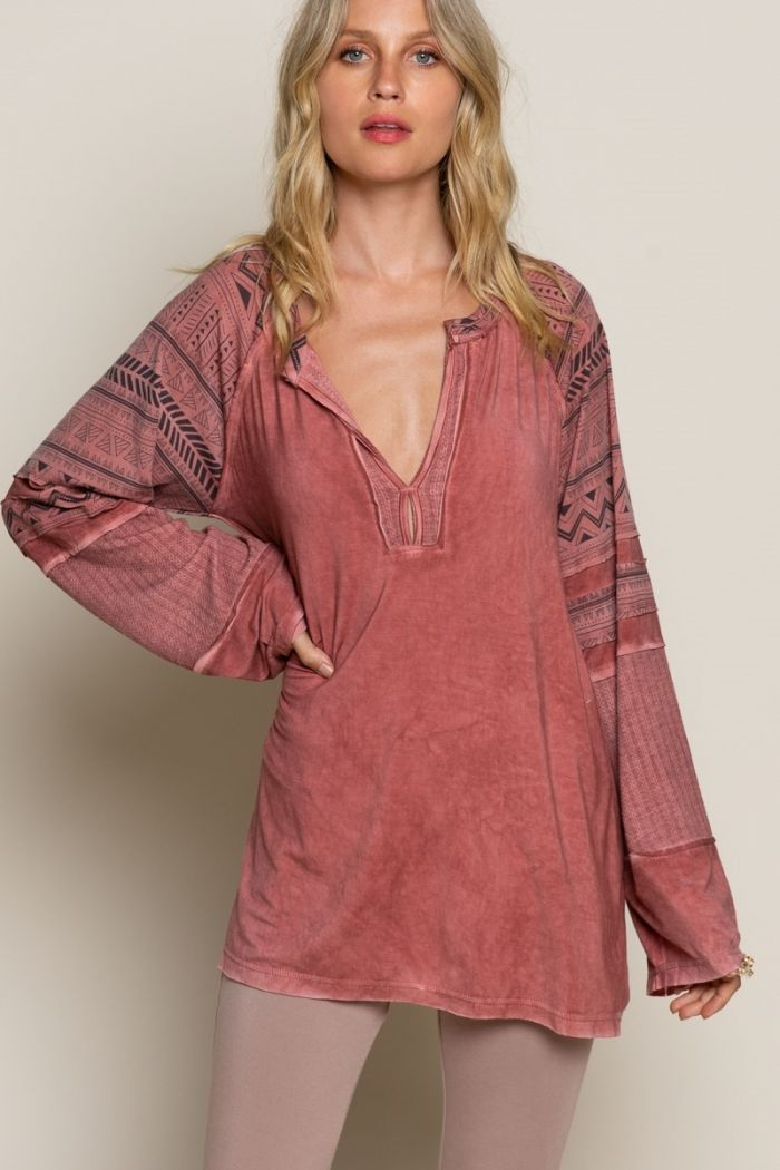 aspen air long sleeve top-2 colors!