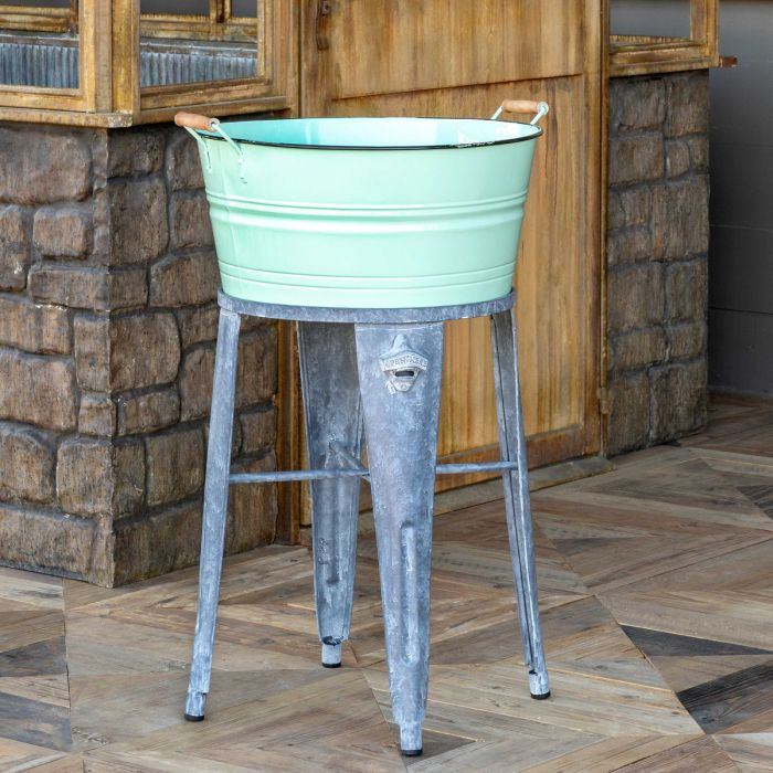 turquoise enamel wash tub with bottler opener