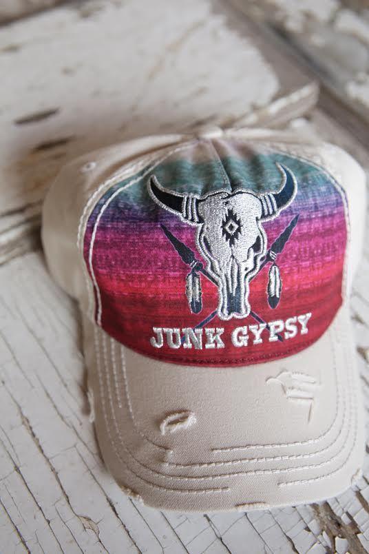 retro skull trucker cap-cream