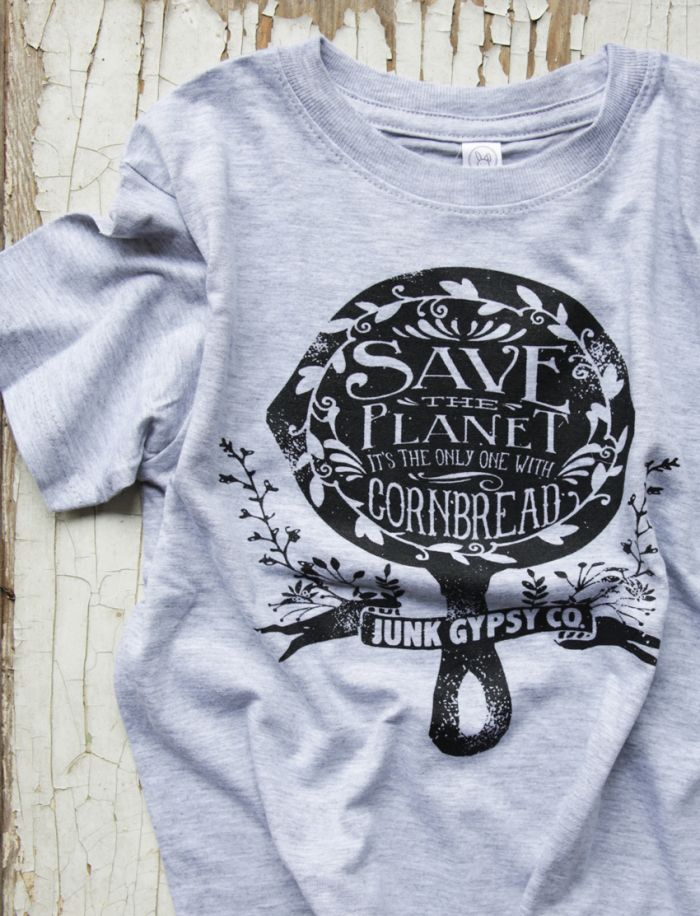 save the planet - it's the only one with cornbread! kids tee