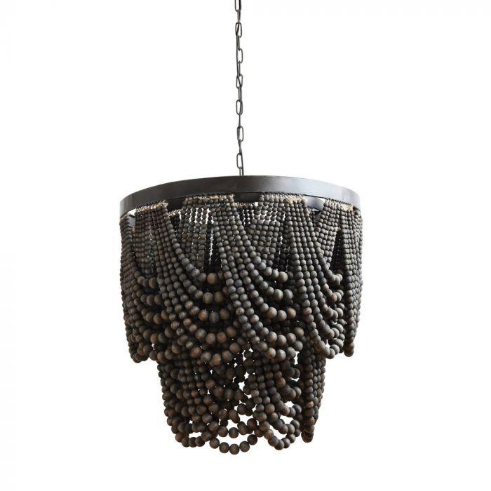 black wood bead chandelier