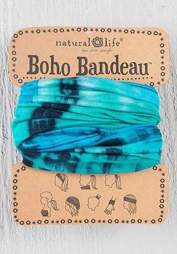 boho bandeau - turq/blue/white tie-dye