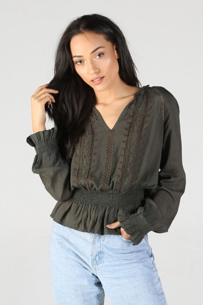 zoe olive embroidered long sleeve blouse