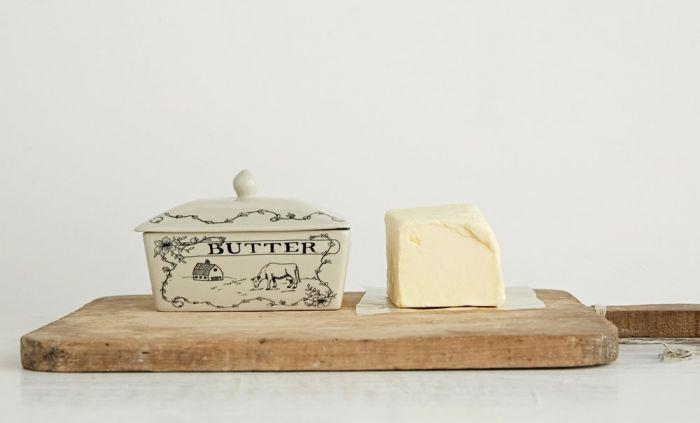 farm scene butter dish