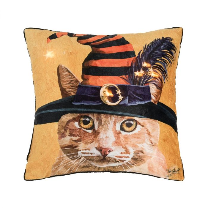 witch cat LED pillow