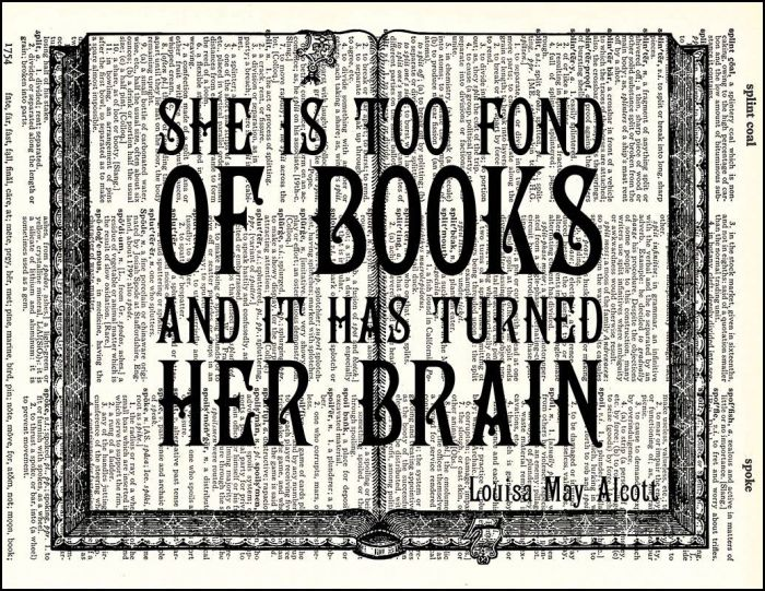 Too Fond of Books Quote Dictionary Print