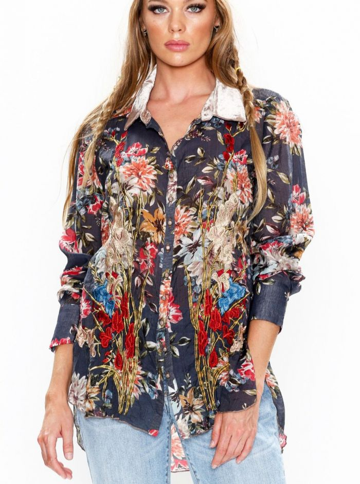 The Floral Brocade button down shirt