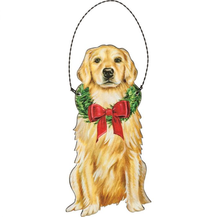 christmas golden retriever ornament