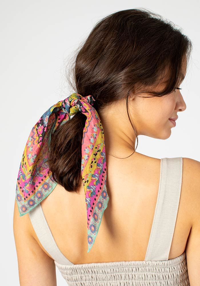 turquoise bandana scrunchie