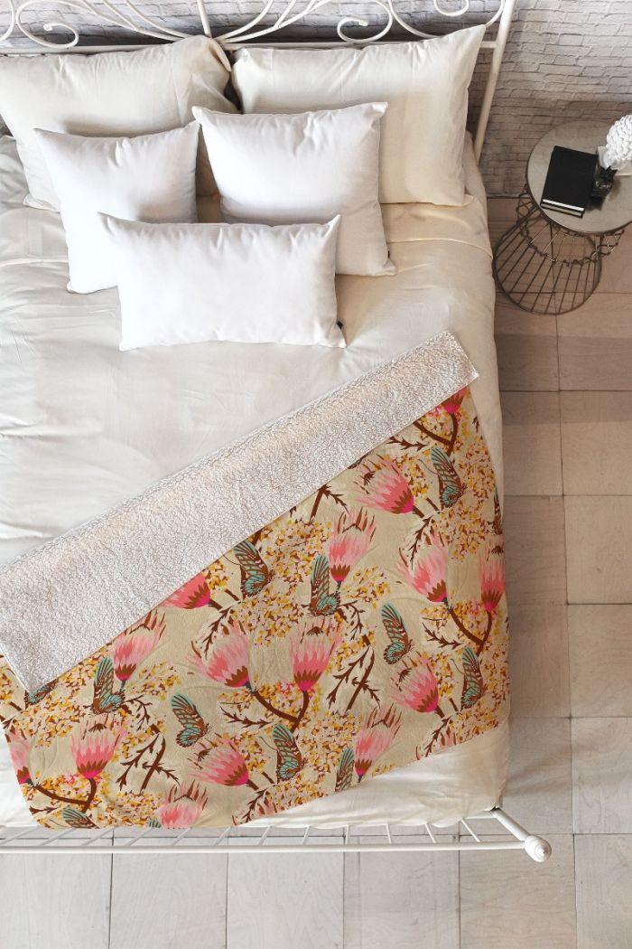 mademoiselle temple butterfly fleece throw blanket