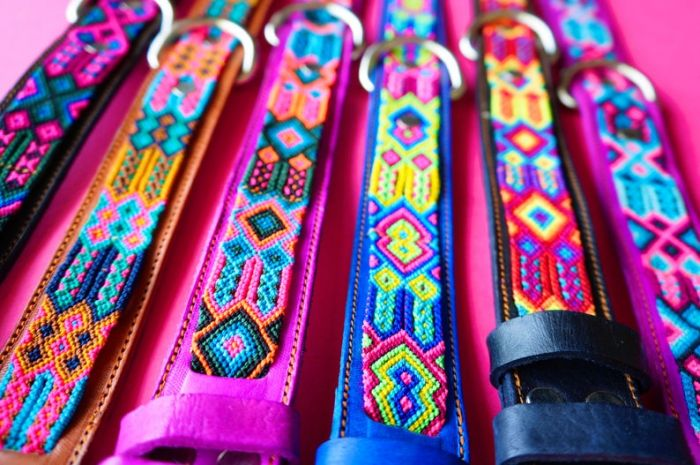 Leather Fiesta Dog Collar -- Medium Thin