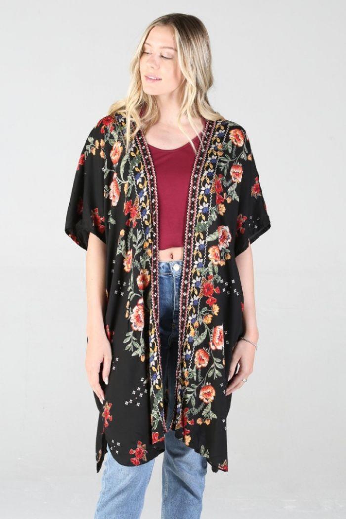 garden party black floral kimono
