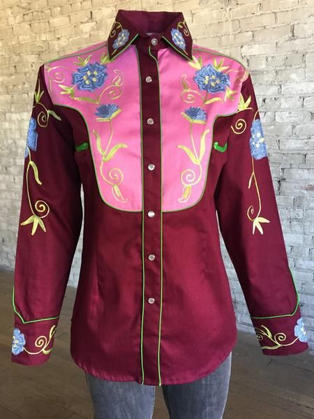 2-tone burgundy & pink floral embroidery button down