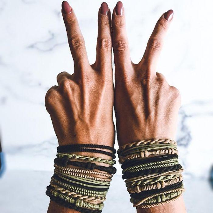tri-color hair tie bracelets