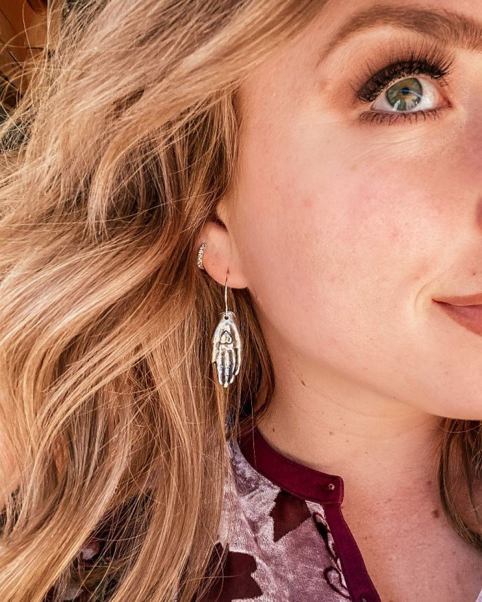hand heart earring