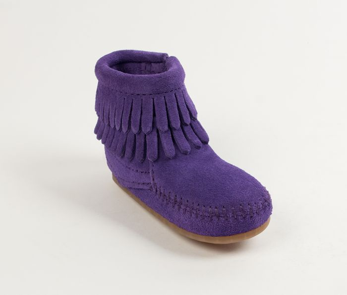 double fringe infant bootie - purple