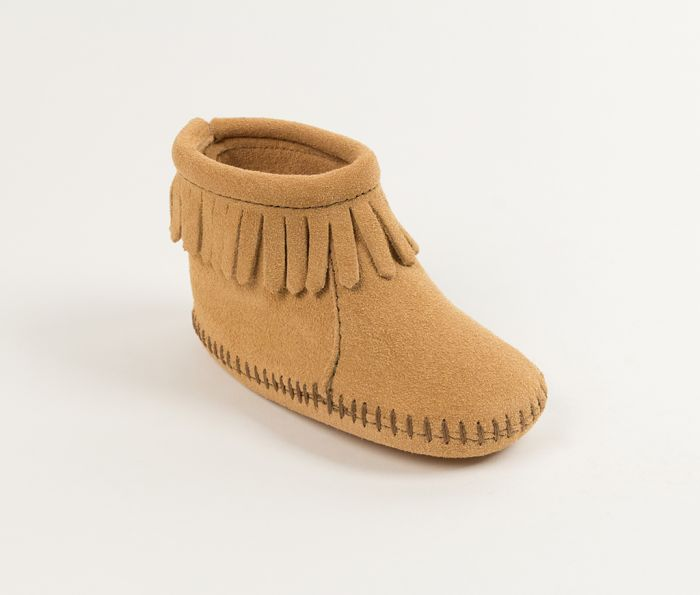 back flap infant bootie - tan