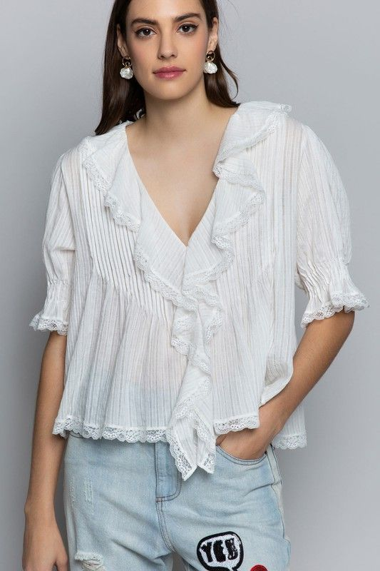 ruffled ivory woven top