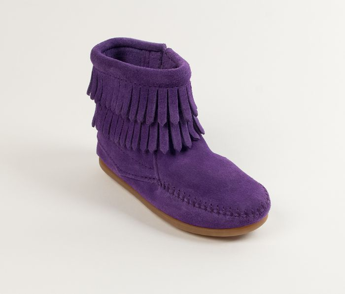 kid's double fringe side zip boot - purple