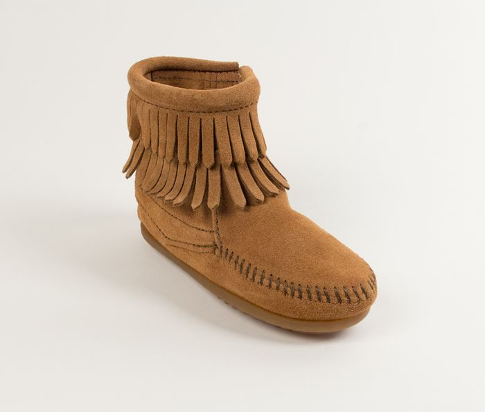 kid's double fringe side zip boot - taupe