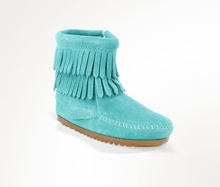 kid's double fringe side zip boot - turquoise