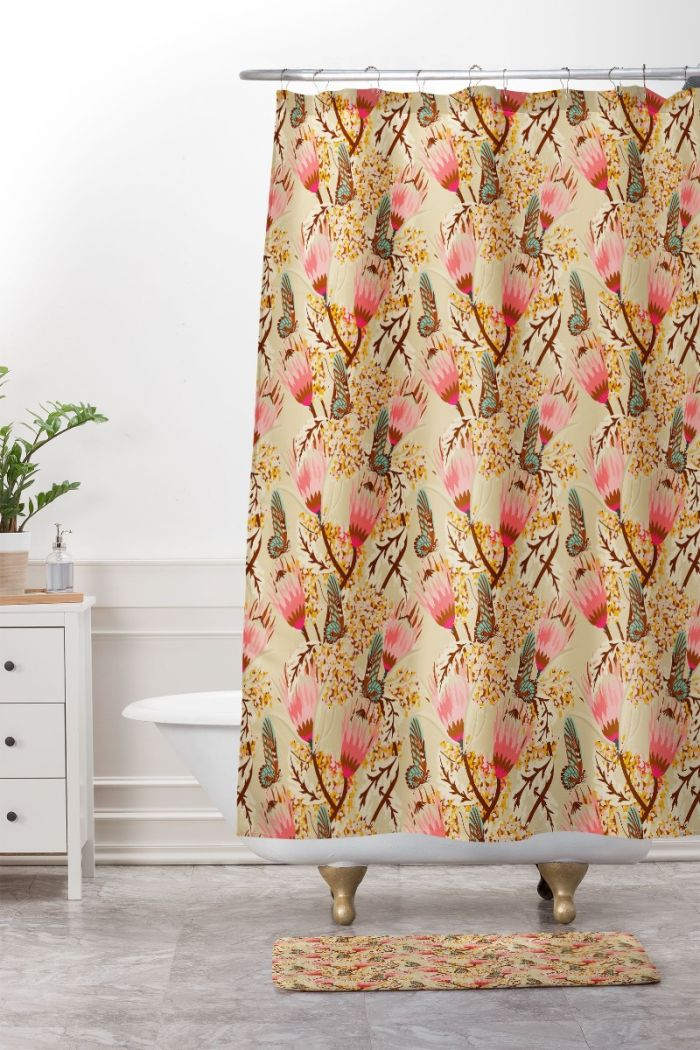 mademoiselle temple butterfly shower curtain & mat