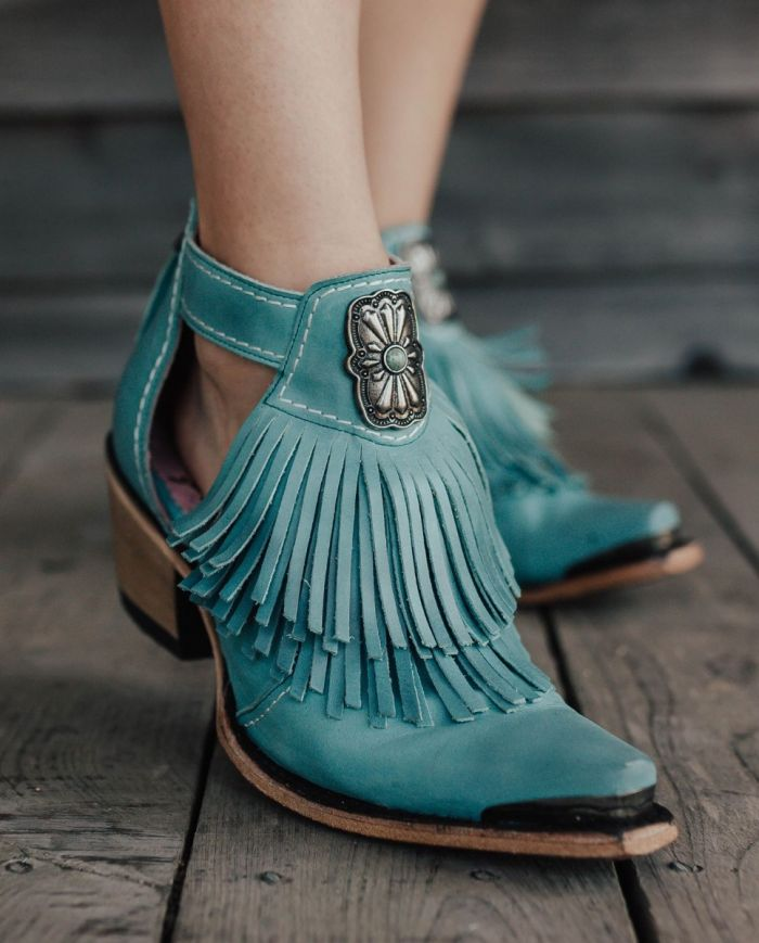 kiss me at midnight booties - turquoise
