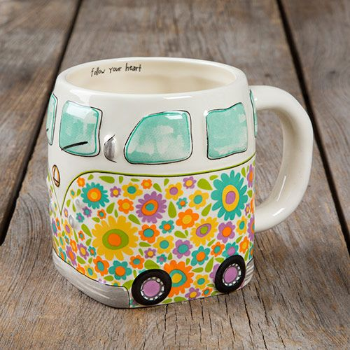 folk art mug - van