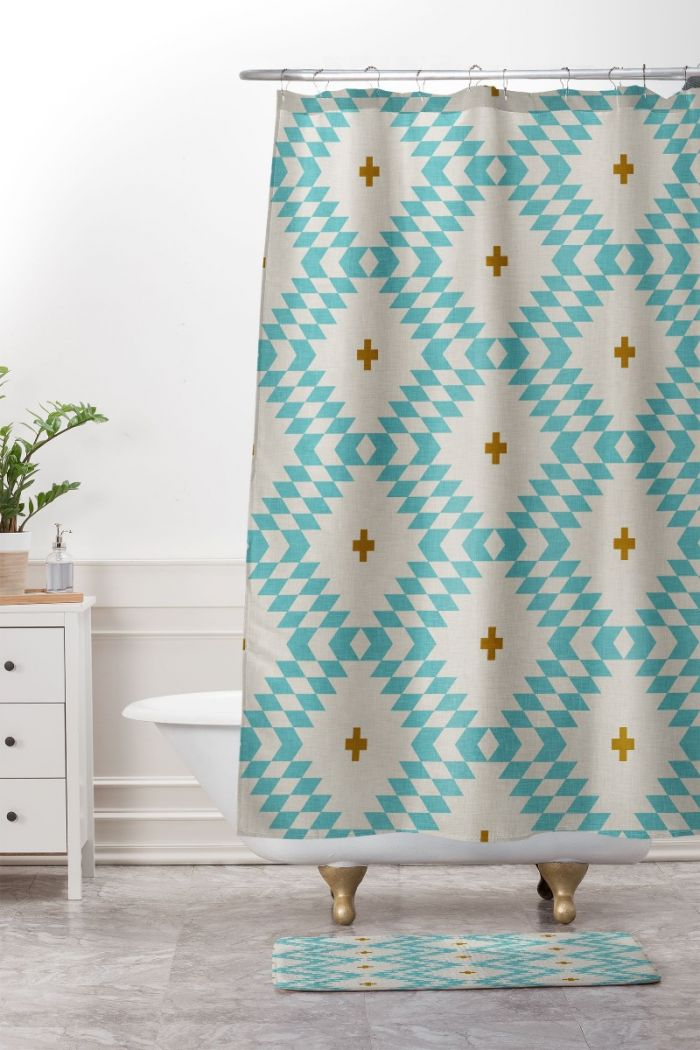 native natural + turquoise shower curtain & mat