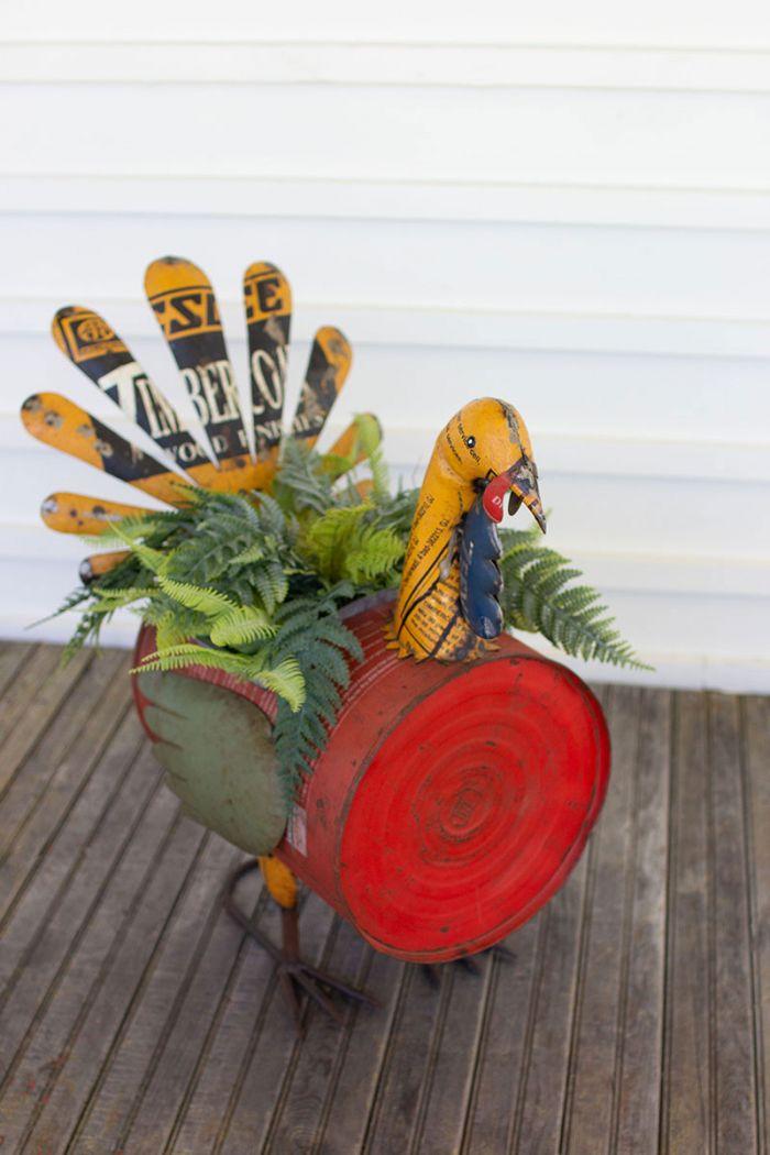 recycled metal turkey planter