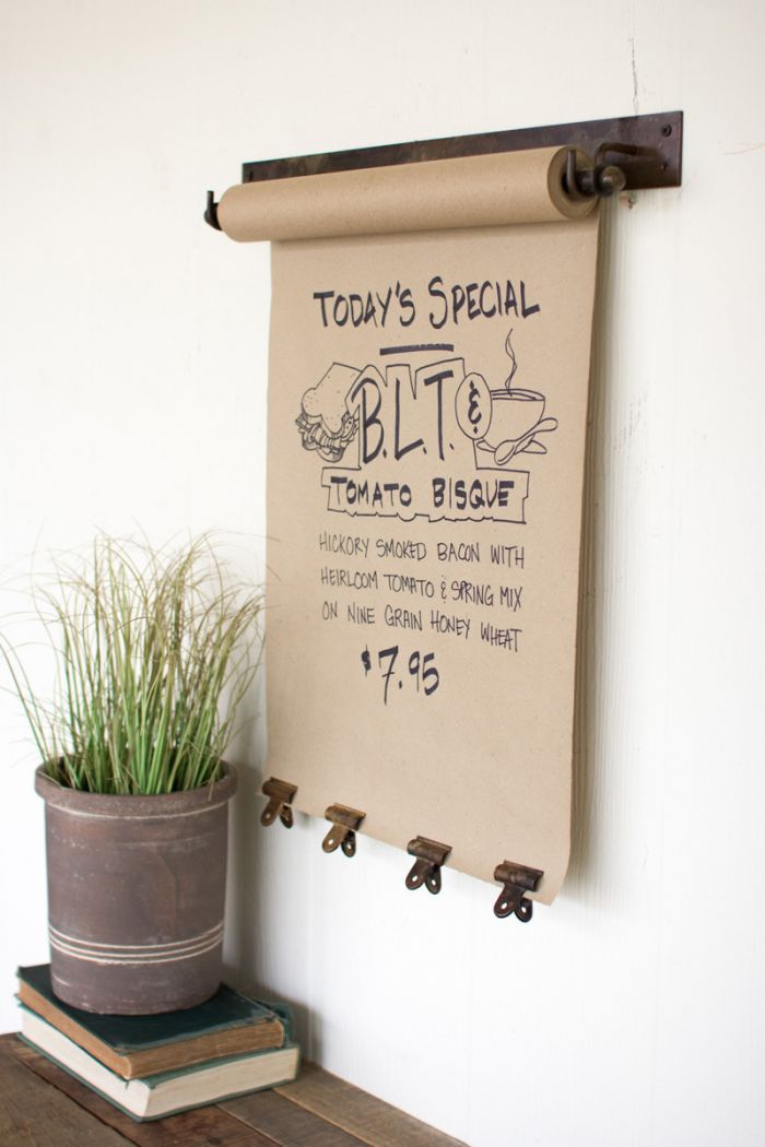 hanging note roll with 4 antique brass finish clips